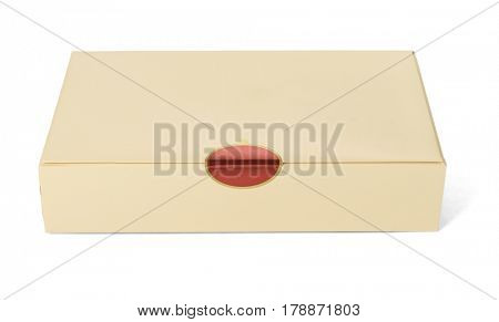 Paper Box Sealed with Sticker on White Background