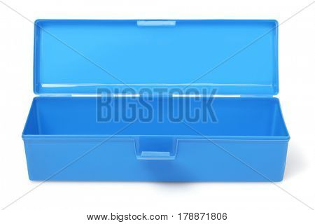 Open Blue Handy Box on White Background