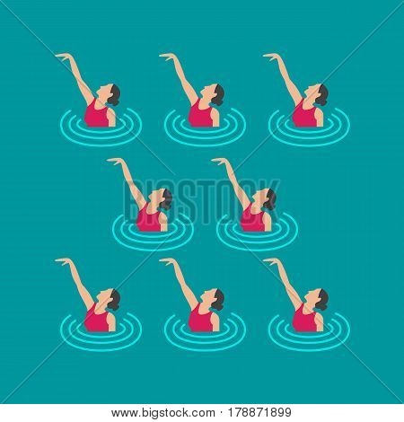 Woman athlete on the performance of synchronized swimming performing art elements