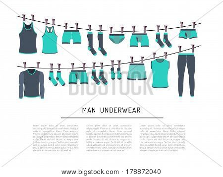 Set of men underwear is painted in flat style. Banner design depicting various types of underwear socks, underwear, t-shirts, underwear. Flat clothing icons isolated on white background.