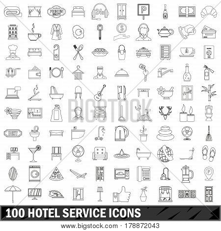 100 hotel service set in outline style for any design vector illustration