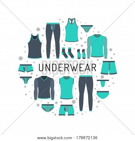 The round design of the banner to shop for men lower undergarments. Men clothing is painted in flat style in a circular composition