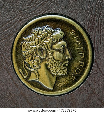 A copy of the ancient Greek coin Philip of Macedon 3rd century BC.