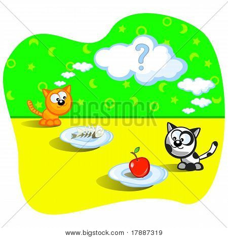 Two cats eating. Beside one fish bones. Beside other apple. Perplexity. Question. Cartoon Vector scene. Humor. poster