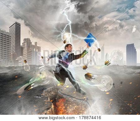 Businessman trying to overcome deep break