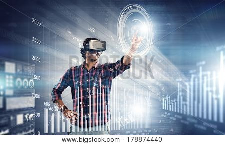 Man with virtual headset