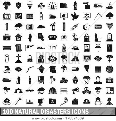 100 natural disasters icons set in simple style for any design vector illustration