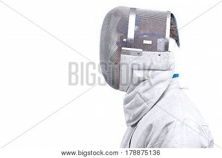 Side View Of Young Man Professional Fencer In Helmet On White