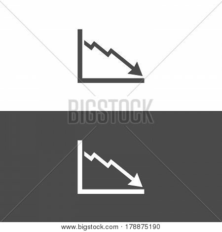 Bankruptcy chart icon on black and white background