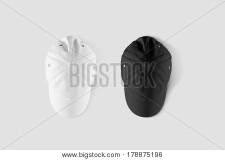 Blank black and white baseball cap mockup set, top side view. Clear snap back mock up, from above, isolated. Empty snapback design template. Sport hat accessory model. Head wearing dress presenation