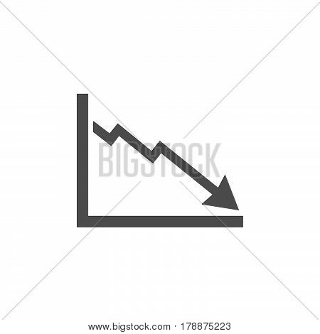 Bankruptcy chart icon on a white background