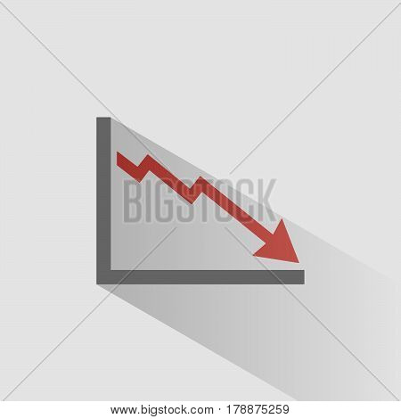 Bankruptcy chart icon with shade on grey background