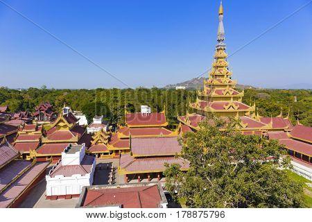 Mandalay Palace at day . Myanmar landmark