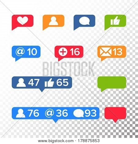 Notifications Icons Template Vector. Like symbol, Message and notification set. instagram