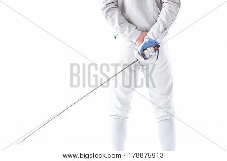 Back View Of Fencer In Uniform Holding Rapier In Hand On White