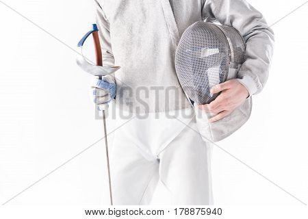 Partial View Of Fencer Holding Rapier And Mask In Hands On White