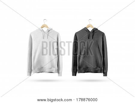 Blank black and white sweatshirt mockup hanging on wooden hanger. Empty sweat shirt mock up on rack isolated. Clear cotton hoody template. Plain textile hoodie design. Loose overall casual jumper. poster