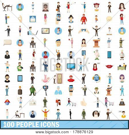 100 people icons set in cartoon style for any design vector illustration