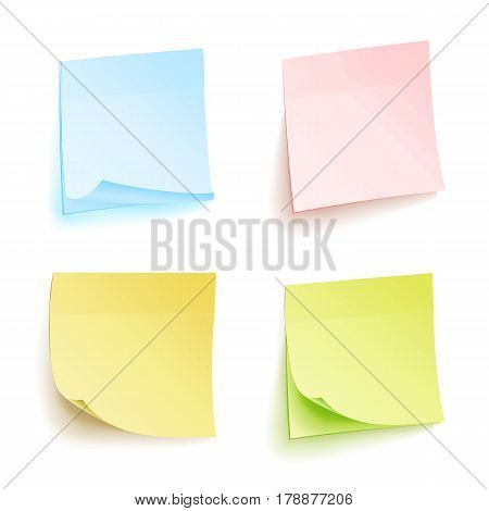 Paper Work Notes Isolated Vector Set. Sticky Note Paper For Noticeboard With Curled Corners Illustration. Colored Sticker Bank