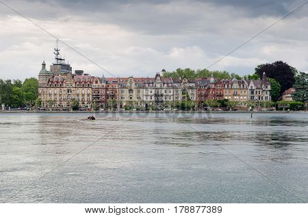 Panoramic View Of Konstanz (constance) On Bodensee Lake. Germany