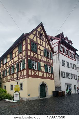 Vintage Timber Framing Houses At Konstanz City. Germany