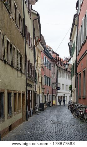 Street Of Konstanz (constance), Germany At Cold Rainy Day