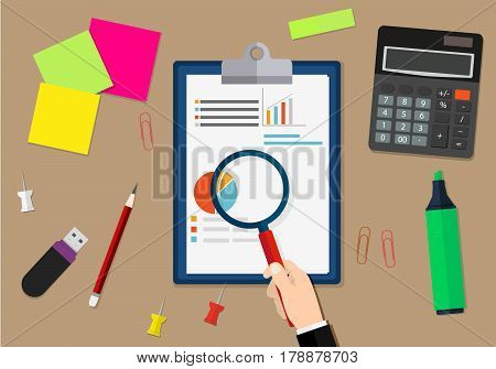 Financial audit concept. Calculation. Auditing tax process. Business background. Vector illustration in flat design