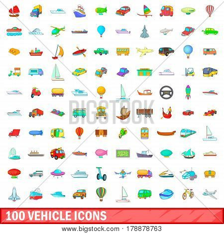 100 vehicle icons set in cartoon style for any design vector illustration