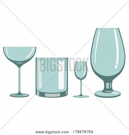 Different types of wine glasses for alcoholic beverages