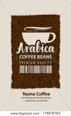 design vector label for coffee beans with cup and barcode in retro style on the background of beans