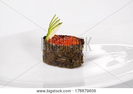 Traditional Japanese Cuisine, Gunkany On White Background