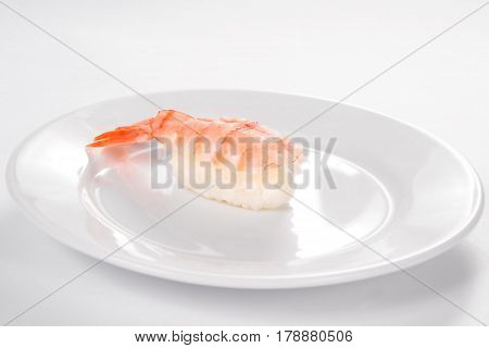 Sushi With Tiger Shrimp On A White Background.