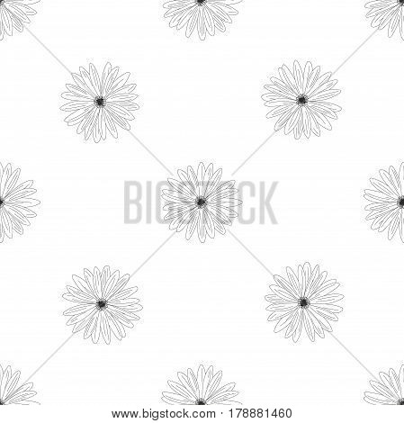 Vector Flowers Pattern Isolated On White Background. Flower Isolated Against White.