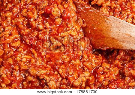 Minced Meat Fried In Tomato Sauce In The Frying Pan. Preparation