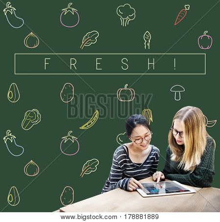 Friends talking with the graphic of vegetable fresh food