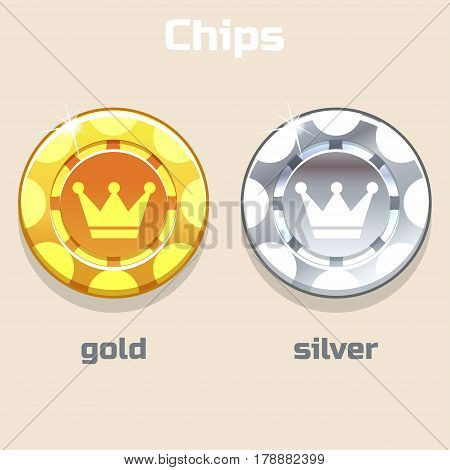 Vector Poker Gold and silver Chips, resource gaming element