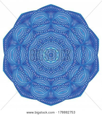 Kaleidoscopic blue pattern mandala is computer graphics and it can be used in the design of textiles in the printing industry in a variety of design projects.
