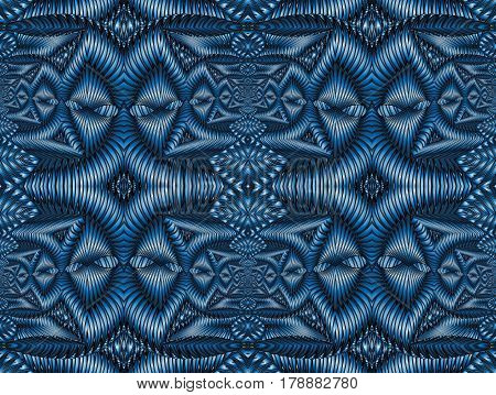 Kaleidoscopic blue seamless pattern is computer graphics and it can be used in the design of textiles in the printing industry in a variety of design projects.