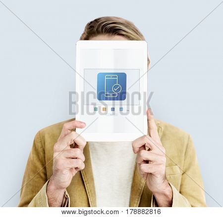Man holding computer network graphic overlay digital device