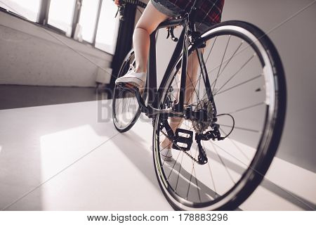 Partial View Of Stylish Woman Riding Sports Bicycle