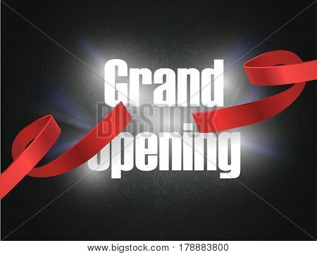 Grand opening vector illustration, background with lettering sign. Template banner, flyer, design element, decoration for opening event