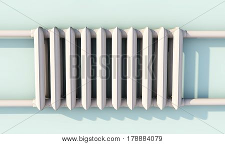 Heating radiator with thermostat 3d rendered image