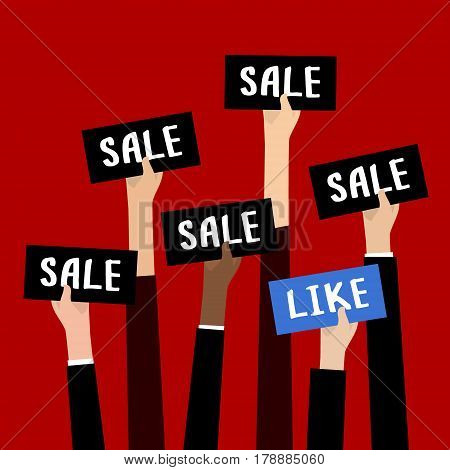 Concept of Big Sale. Businessman holding black sign boards with the word Sale. A lot of hands hold placards. Flat design, vector illustration.