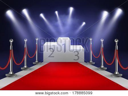 Stage for awards ceremony. White podium with red carpet. Pedestal. Scene. Spotlight. 3D. Vector illustration EPS10