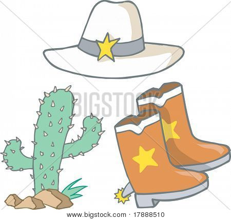 Vector Illustration of Cowboy/Cowgirl Elements
