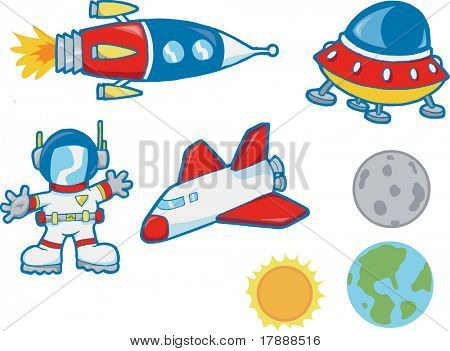 Vector Illustration of Outer Space Elements