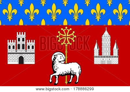 Flag of Toulouse is the capital city of the southwestern French department of Haute-Garonne of Occitanie region.