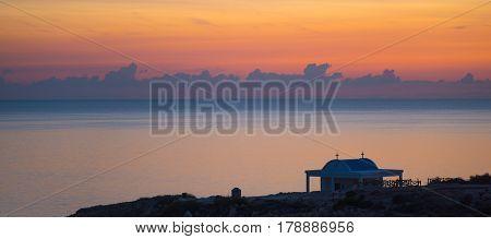 Beautiful sunrise scene at Cape Greco (also known as Cavo Greco). Panoramic view.