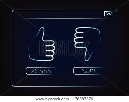 pop-up window with tumbs up and down and buttons to vote, vector illustration on mesh background
