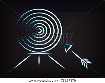 Target And Arrow, Minimalist Style Illustration